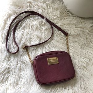 Michael Kors Mini Jet Set Logo Crossbody Burgundy